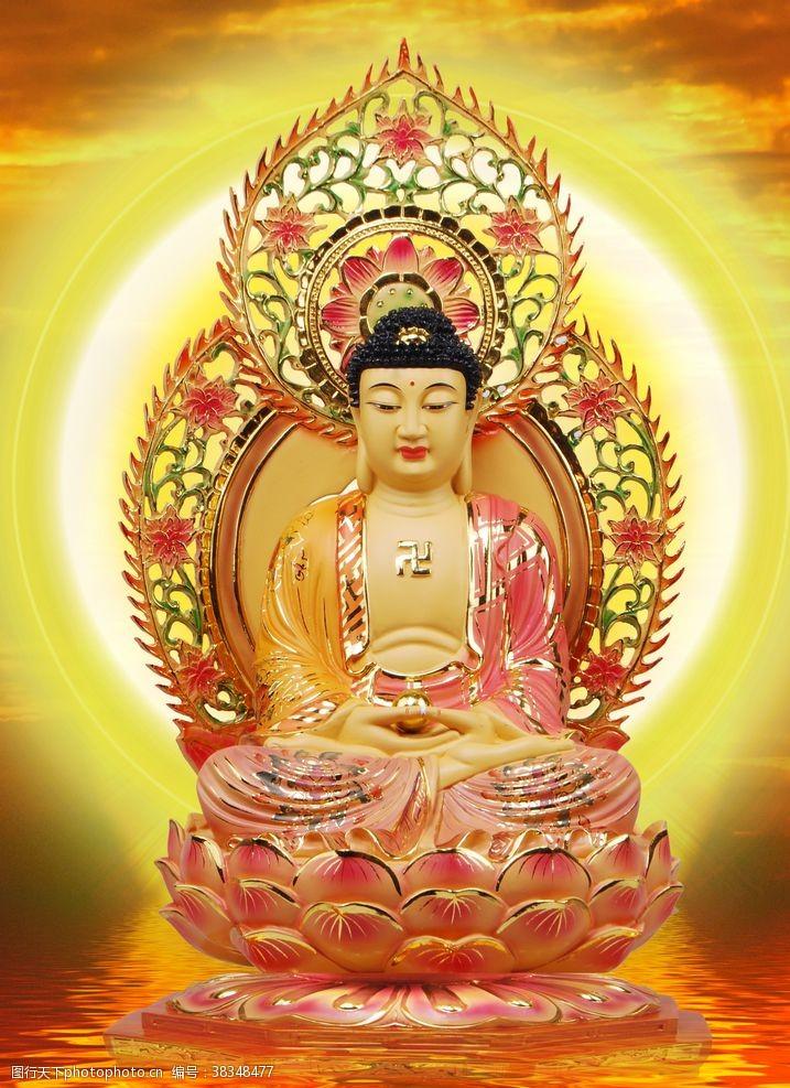 金黄背景佛像挂画