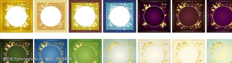 金色圣诞多彩正方形矢量背景花纹相框素材