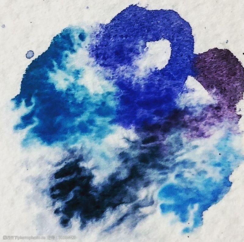 线条蓝色黑色紫色水彩水墨画