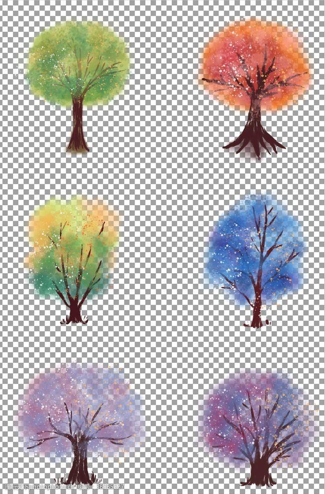 元素手绘水彩树木