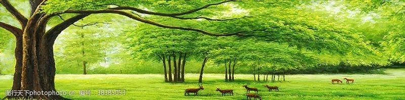 风景画油画森林