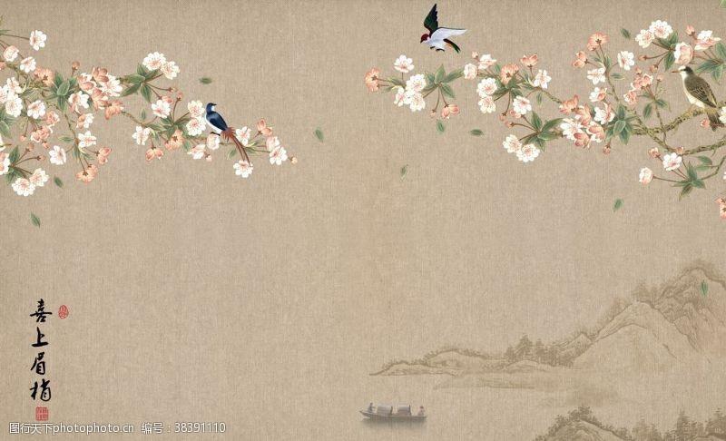 背景墙国画花鸟画