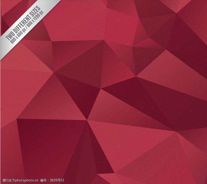 源文件红色多角形背景
