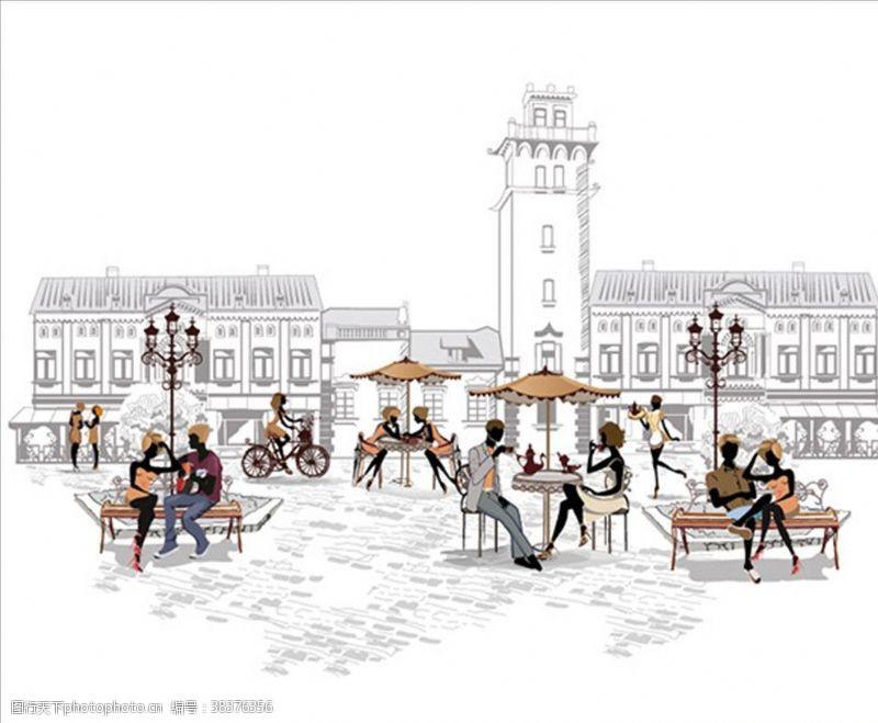 情侣手绘风格街头咖啡馆