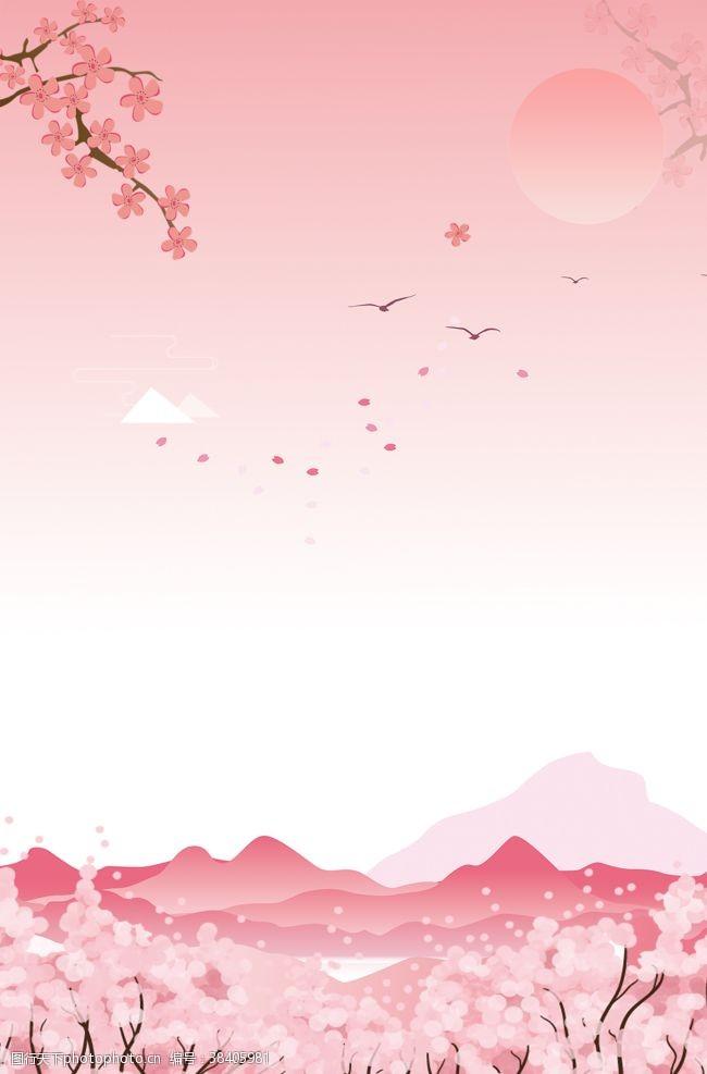 礼盒樱花背景