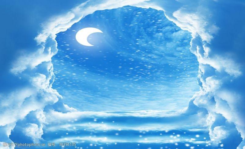 风景画蓝天背景墙
