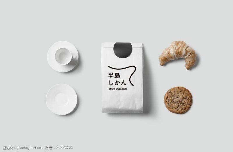 牛皮纸样机面包袋包装袋样机