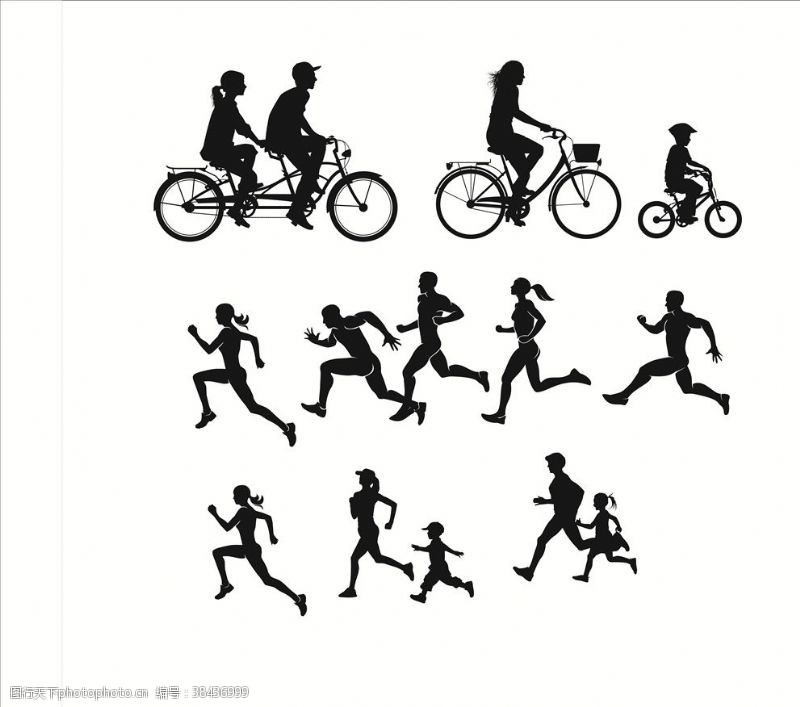 运动跑步剪影