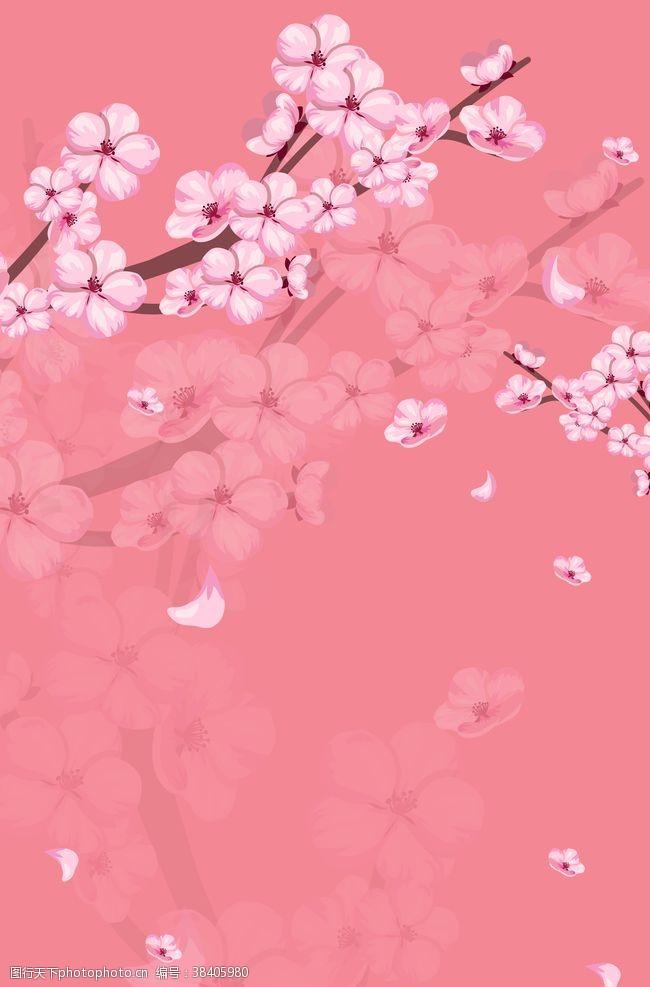 礼盒色桃花背景