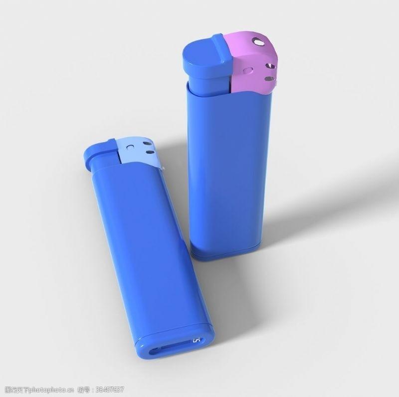 3d设计打火机蓝色火机