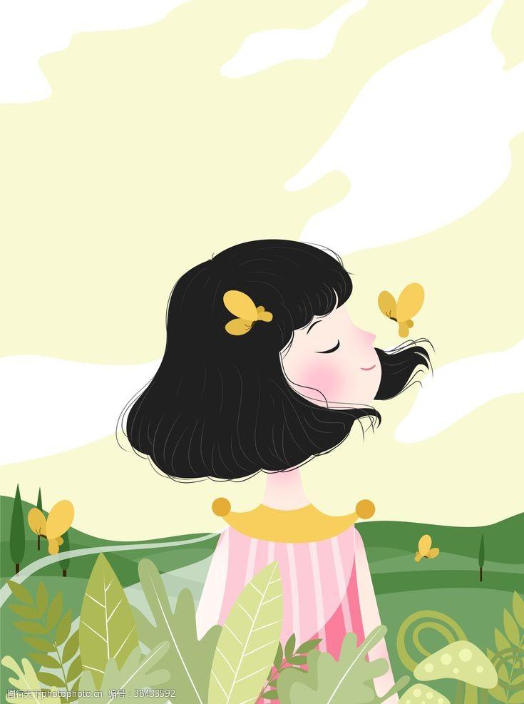 春季促销女孩卡通背景