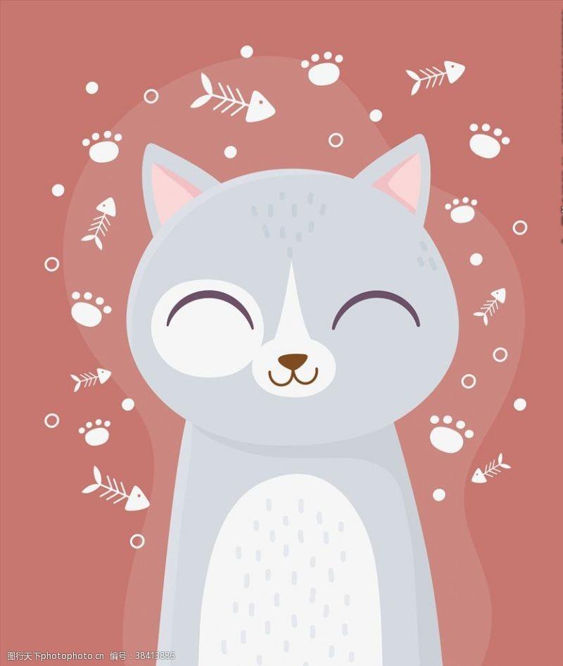 手绘卡通猫