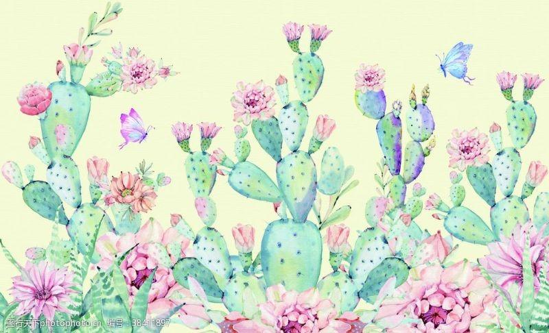 小清新植物背景墙