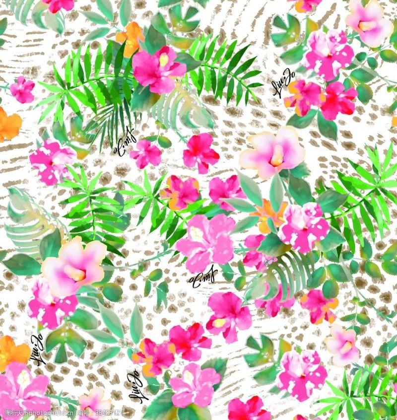 漂亮的花朵花朵豹纹