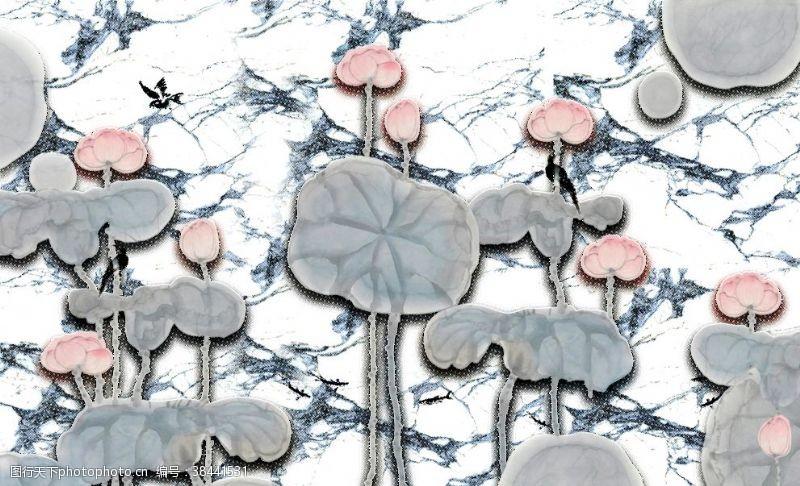 石纹山水荷花装饰画