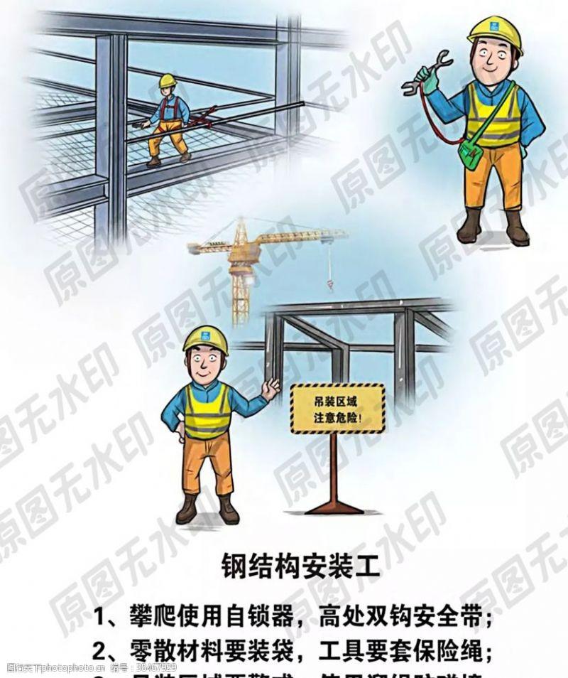 卡通安全生产漫画各类操作员一钢结构