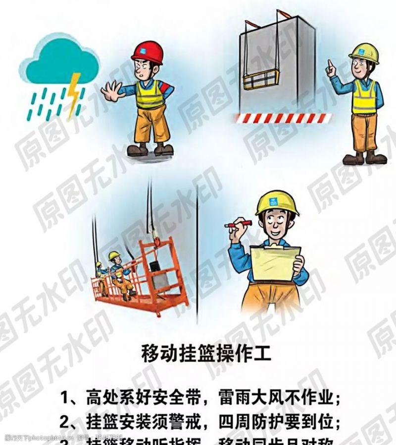 卡通安全生产漫画一挂篮操作员