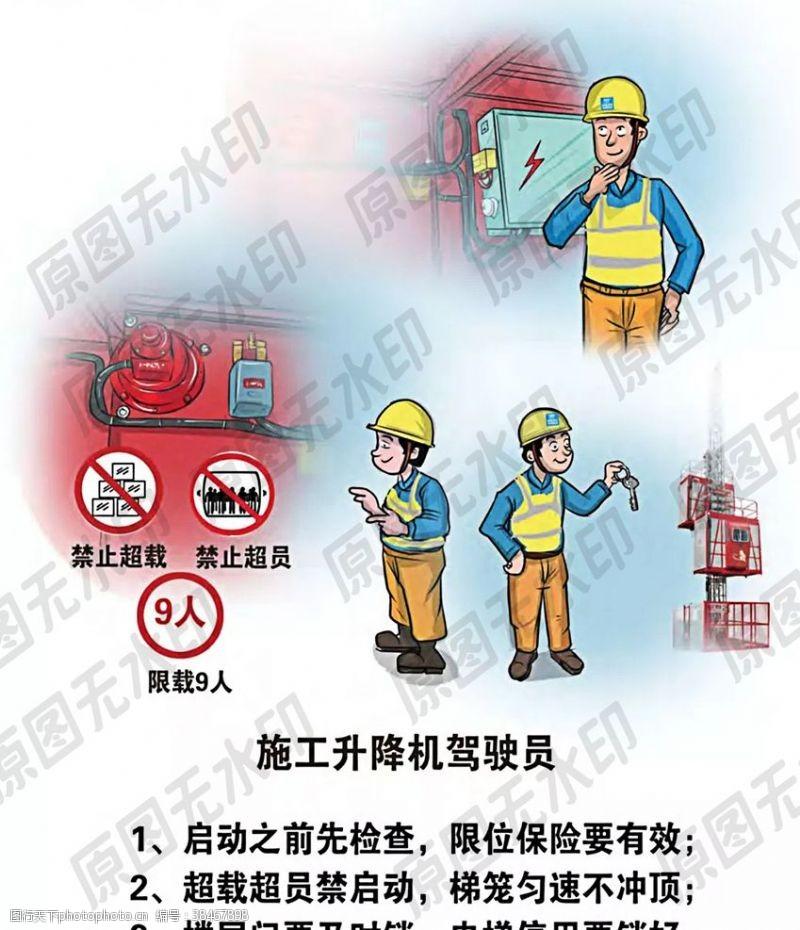 卡通安全生产漫画一升降机驾驶员