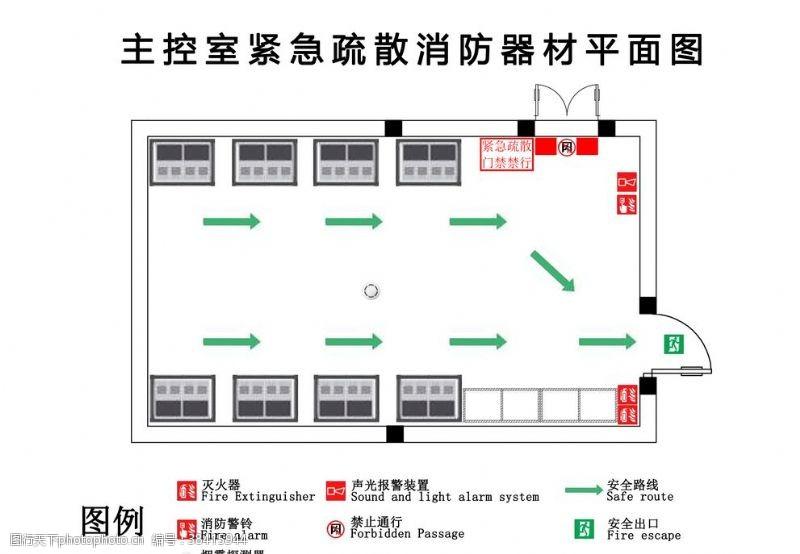 紧急疏散图电场主控室紧急疏散消防器材平面
