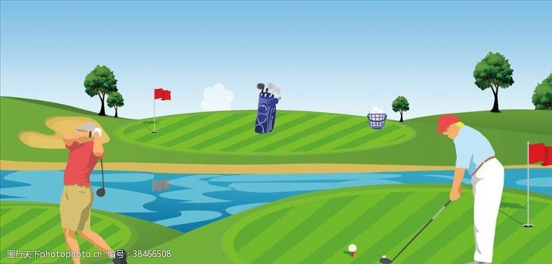 挥杆高尔夫插画
