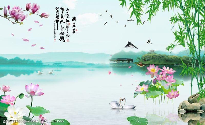 湖泊荷花背景墙
