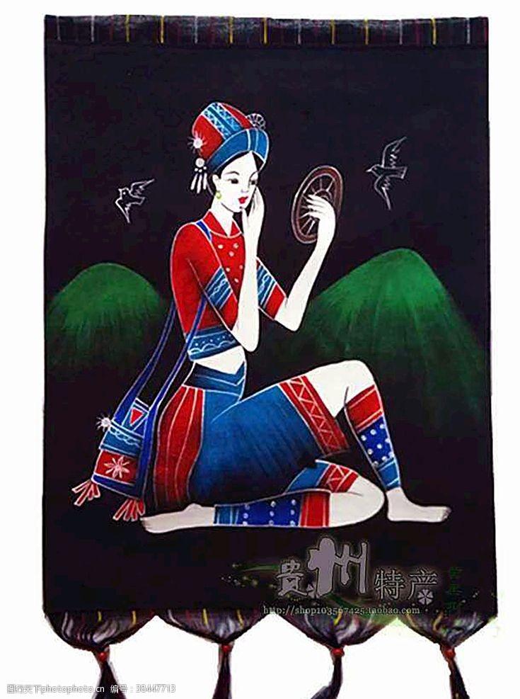 民族元素民族少女重彩画