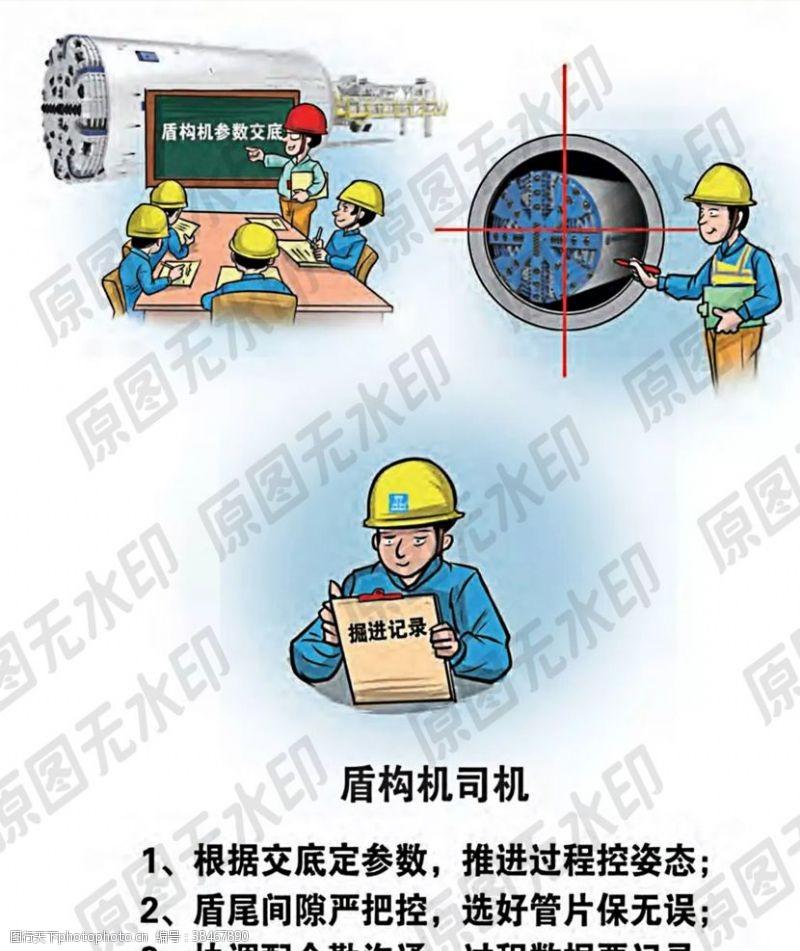 卡通安全生产漫画一盾构机驾驶员