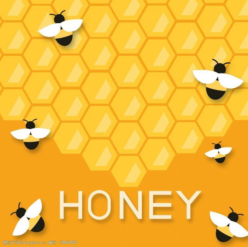 psd分層素材卡通扁平蜜蜂蜂蜜背景