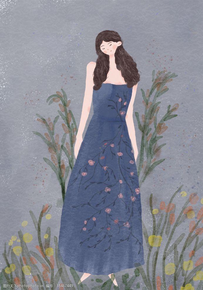 植物水彩女孩人物插画