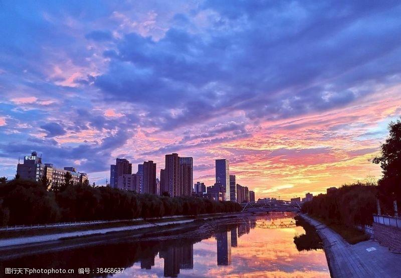 城市风光郑州城市风光夜景夕阳