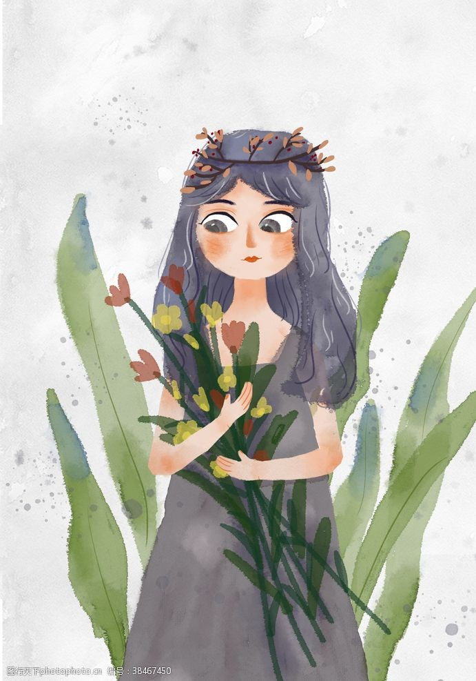 植物水彩人物插画女孩