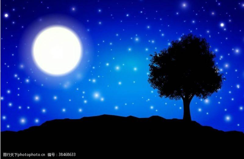 植物剪影夜景