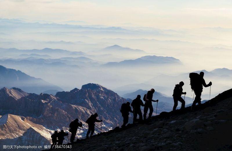 概念图片登山者阴影励志概念