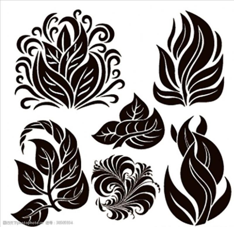抽象卡通植物剪影