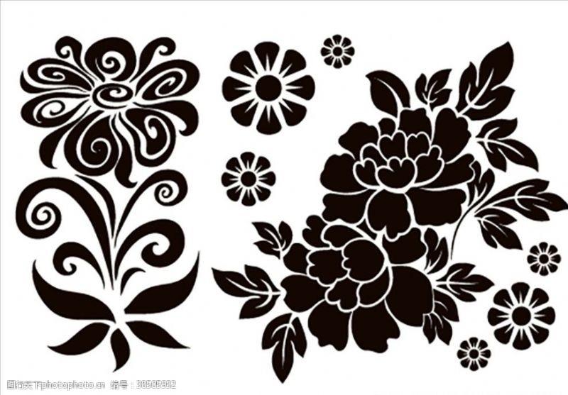 绿色花纹卡通花朵矢量
