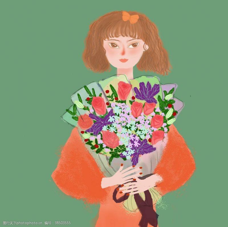 鲜花女孩手捧鲜花束的小女孩