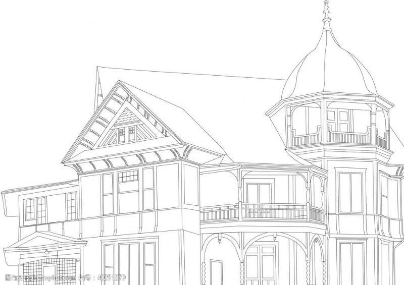 城堡素描别墅素材图片