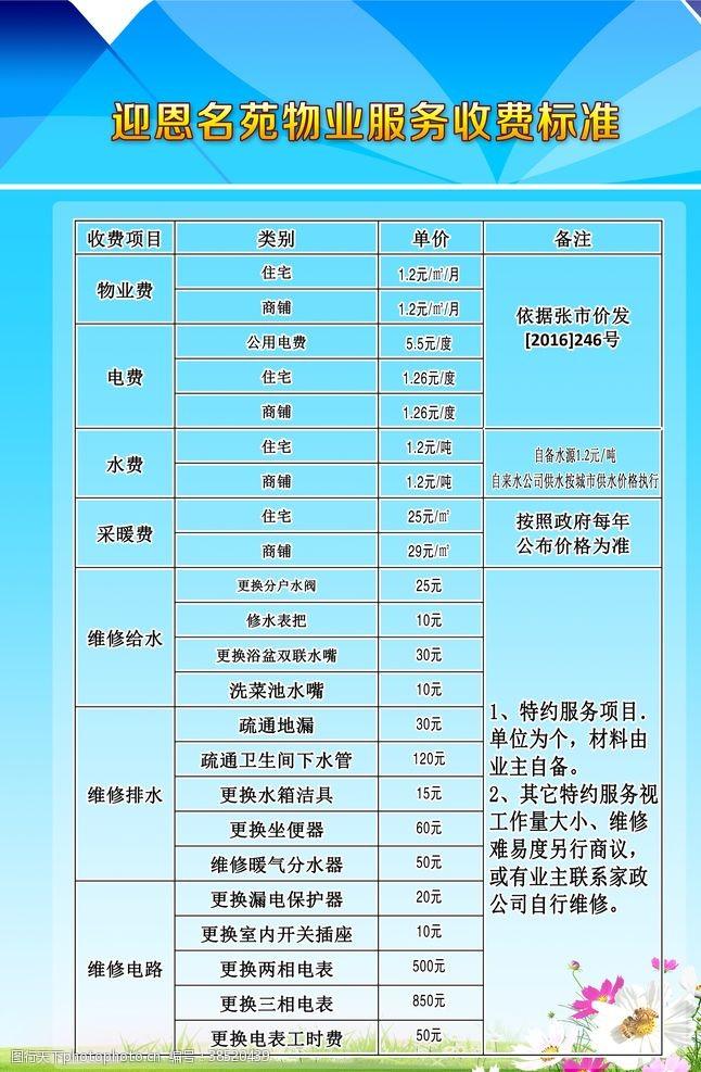 原创展板物业服务收费标准