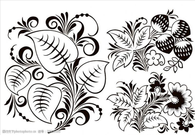 绿色花纹植物图腾花纹