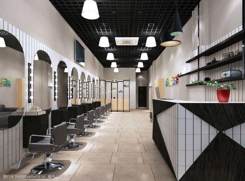 理发店设计理发店装修设计效果图