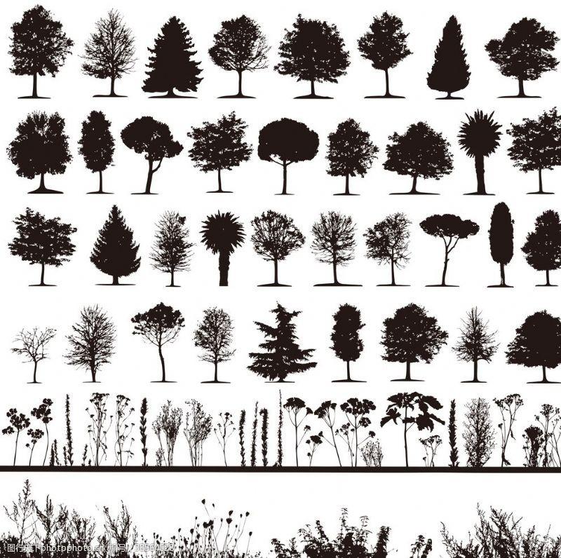 树木卡通树木剪影