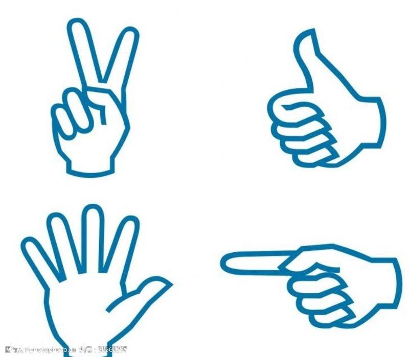 竖大拇指矢量手势标志