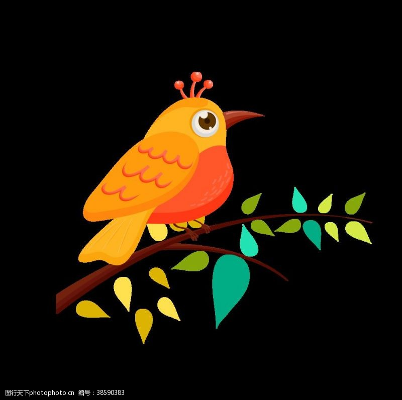 小鸟插画彩色手绘小鸟树枝