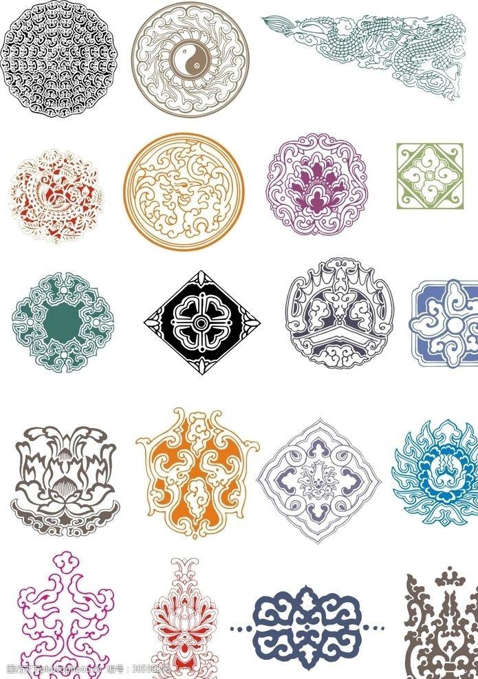 彩色矢量传统图案装饰图