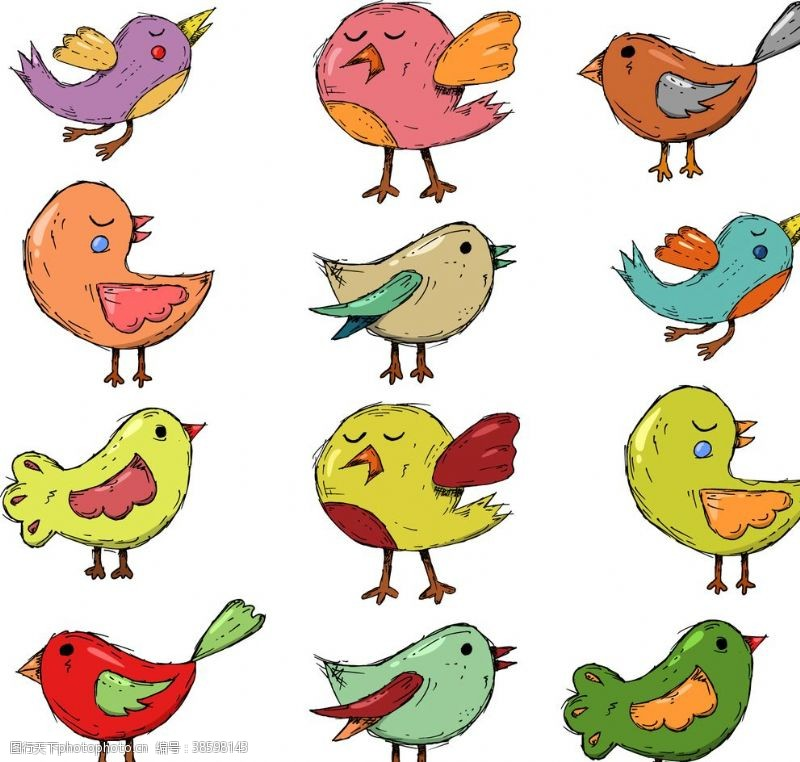 卡通小鸟插图
