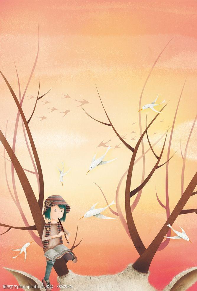 鸽子吹笛子的女孩