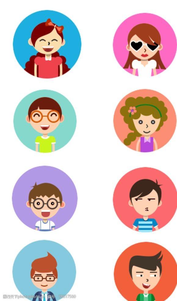 矢量小插图人物表情头像