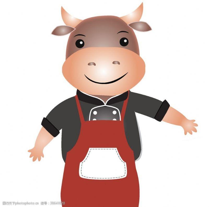 卡通矢量图案动物小牛厨师