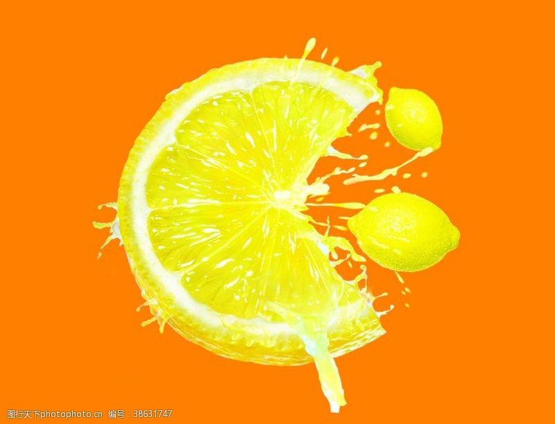 印刷适用创意柠檬水果切片素材