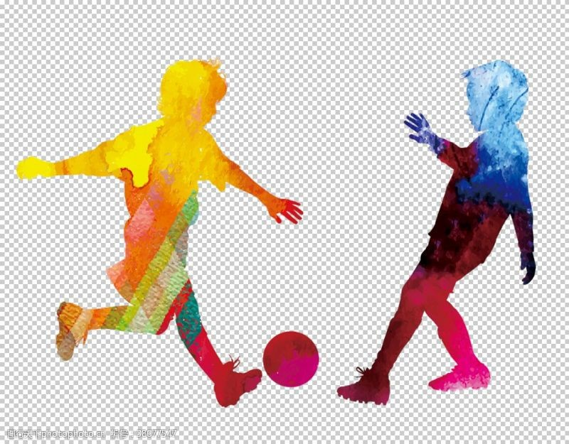 人物足球运动剪影合成背景素材